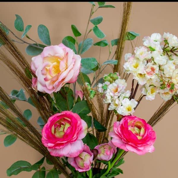 Kunstbloem boeket Ranonkel roze