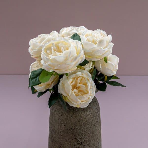 Kunstbloem boeket pioenen wit