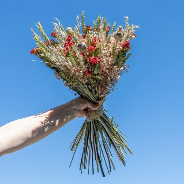 Droogbloeket Roselin rood 100 rode roosjes