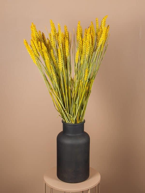 Droogbloemen tarwe vaas geel